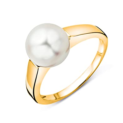 Miore Women's 9 ct Yellow Gold Round Freshwater Cultured Pearl Ring AtIileCl