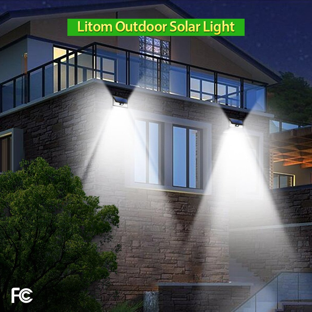 LITOM 24 LED Solar Lights Outdoor, 3 Optional Modes Wireless Motion ...