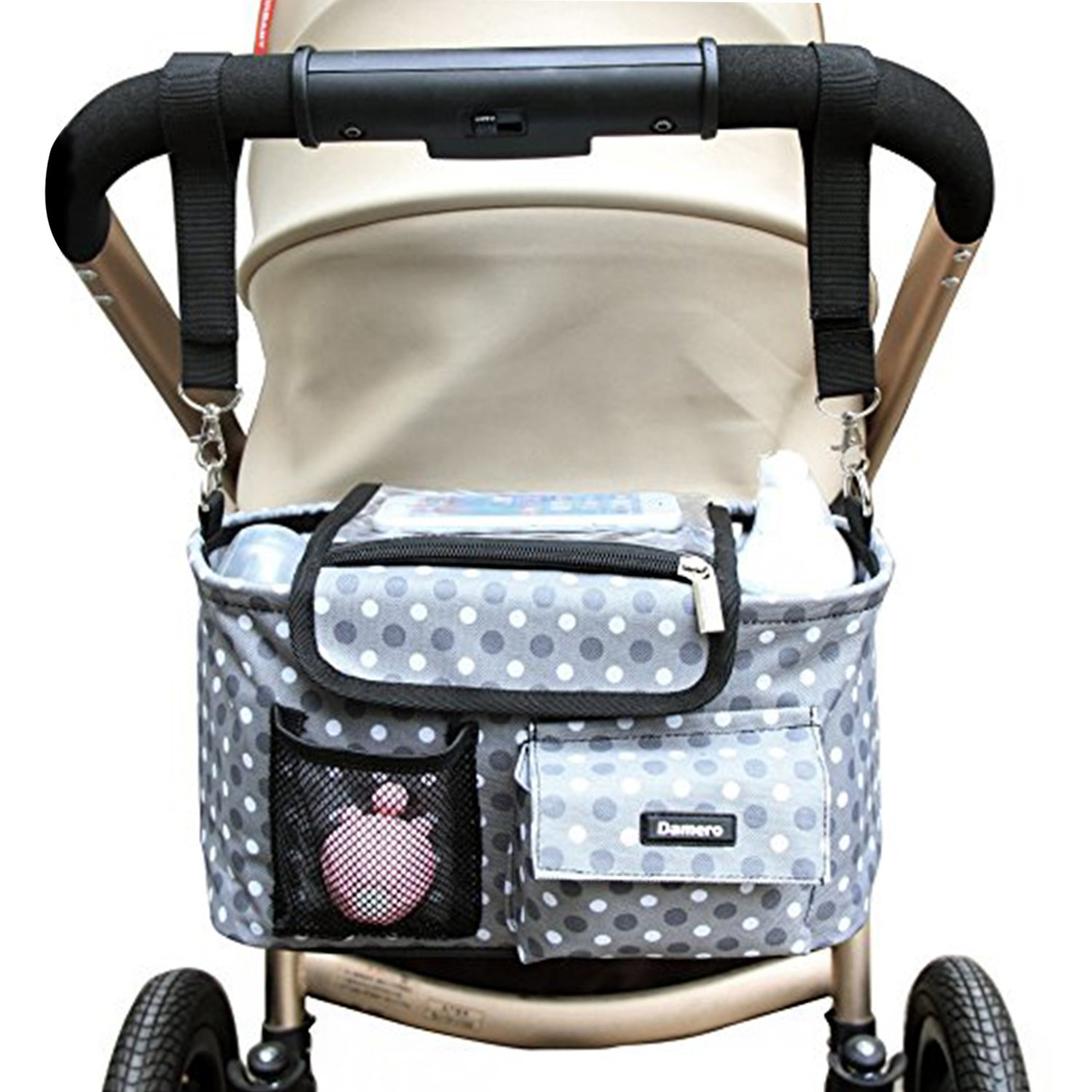 Damero Stroller Organizer All-in-One Insulated Storage Bag with Shoulder Strap and Stroller Strap, Spacious and Neat, Great for Baby Shower Gift-New Version