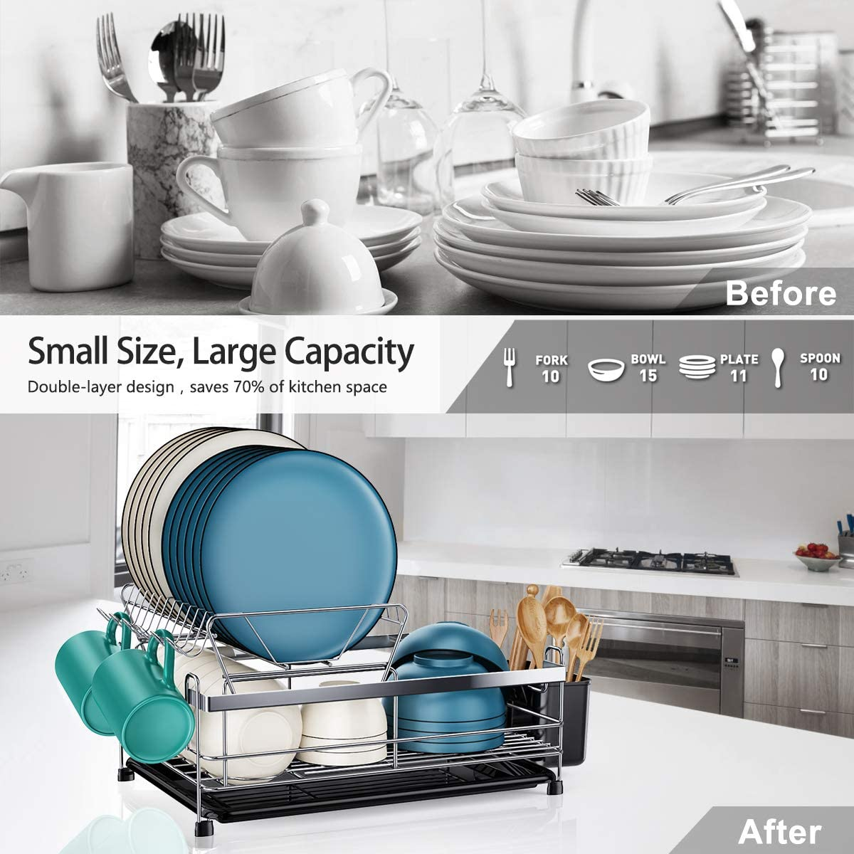 2020 Newest 304 Stainless Steel Dish Drainer For Kitchen Counter Large Capacity Unique U Shaped Design Dish Holder Kitchen Dish Rack And Drainboard Set Homemaxs Dish Drying Rack Storage Organization Kitchen