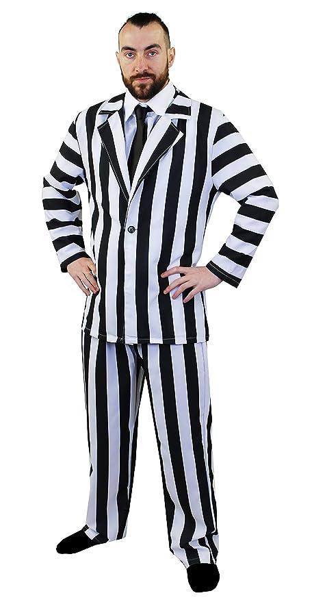 ILOVEFANCYDRESS - Disfraz de Bitelchús para Hombre, con Traje de Rayas, Color Blanco y Negro