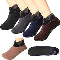 4 Pairs Non-Slip Thermal Socks Fleece Plaid Floor Socks Thickening Layer Indoor Socks Reinforced Stitching Slipper Socks…