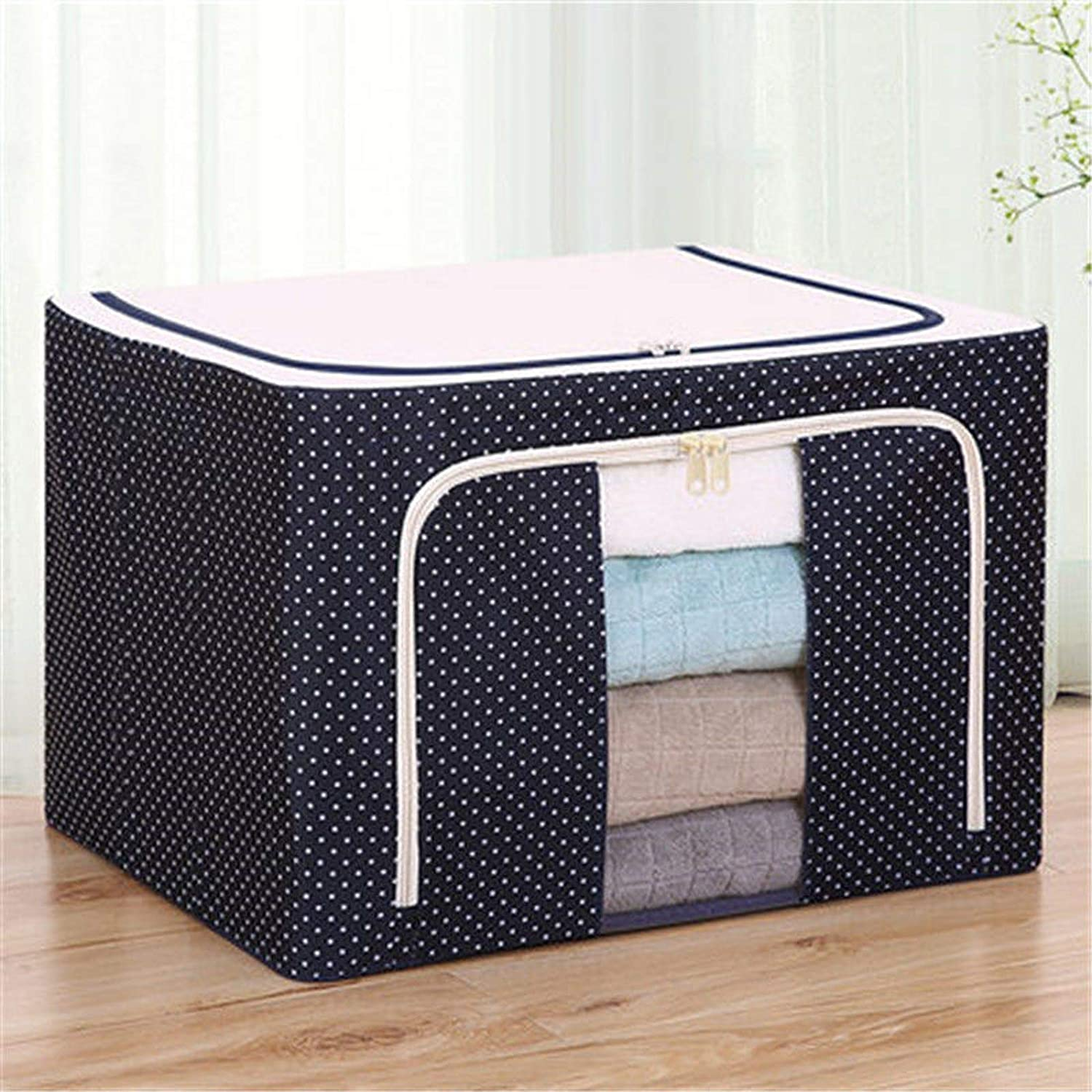 Square Foldable Storage Box, Large Clothes Storage Bags Closet Organizer with Zips, for Home Office Nursery Organiser Clothes Basket Containers,Blue,100L (604240cm)
