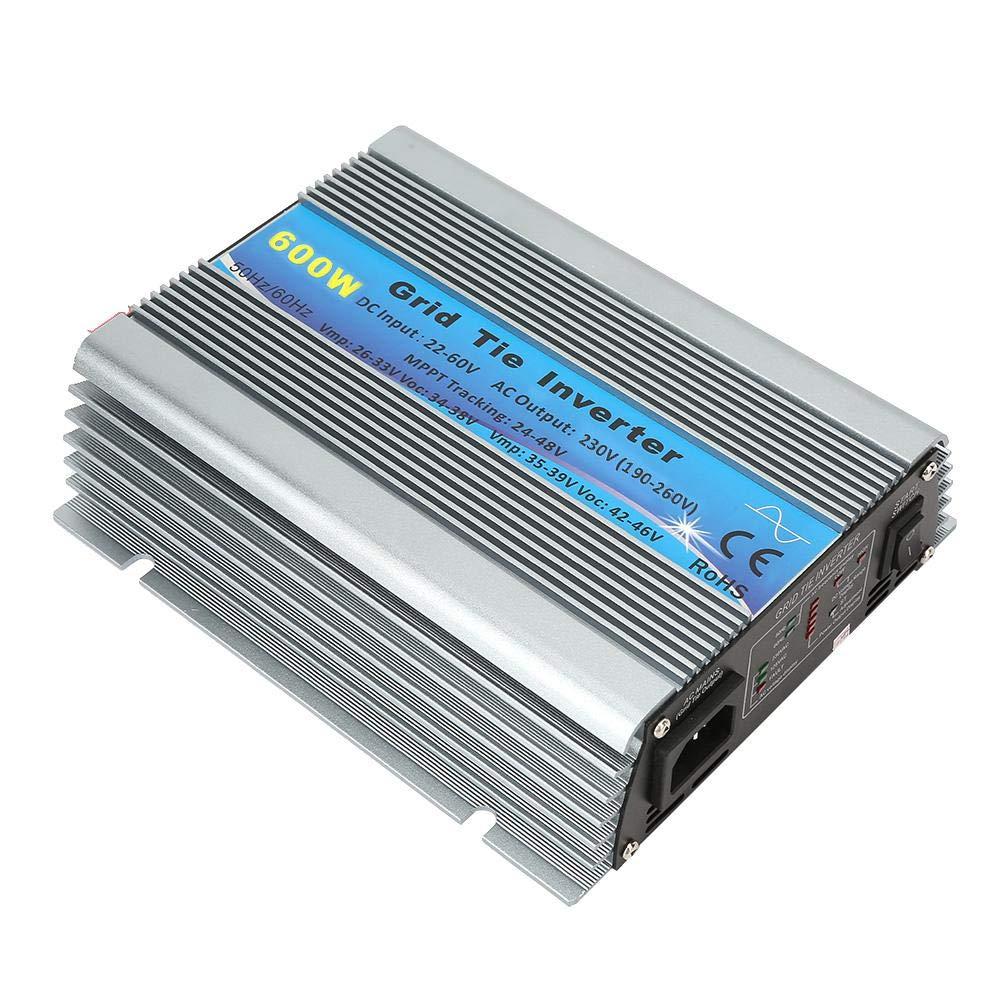 Wocume Solar Wechselrichter AC 220-240V; EU Plug 600W Gitterbindung Rein Sinus W-Ave Haushalt Solar Wechselrichter 22-60V