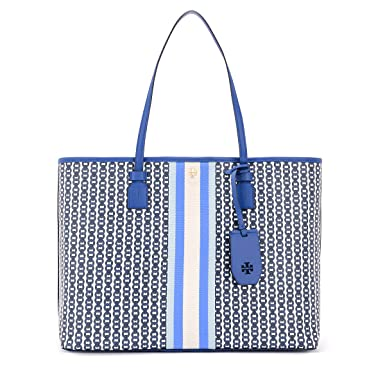 fb1583870 Amazon.com: Tory Burch Gemini Link Canvas Tote in Bondi Blue: Clothing