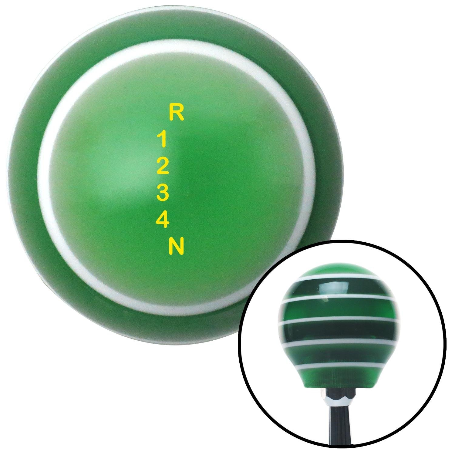 Yellow Shift Pattern 60n American Shifter 127344 Green Stripe Shift Knob with M16 x 1.5 Insert
