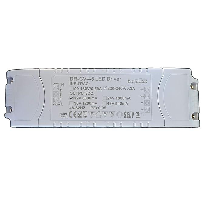 Dimmbarer LED Trafo 12V DC 1-45 Watt Netzteil dimmbar Treiber ...