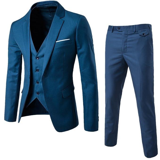 Traje de hombre Slim fit con un sólo botón solapa ropa chaqueta chaleco    pantalón para dad448f6d4d