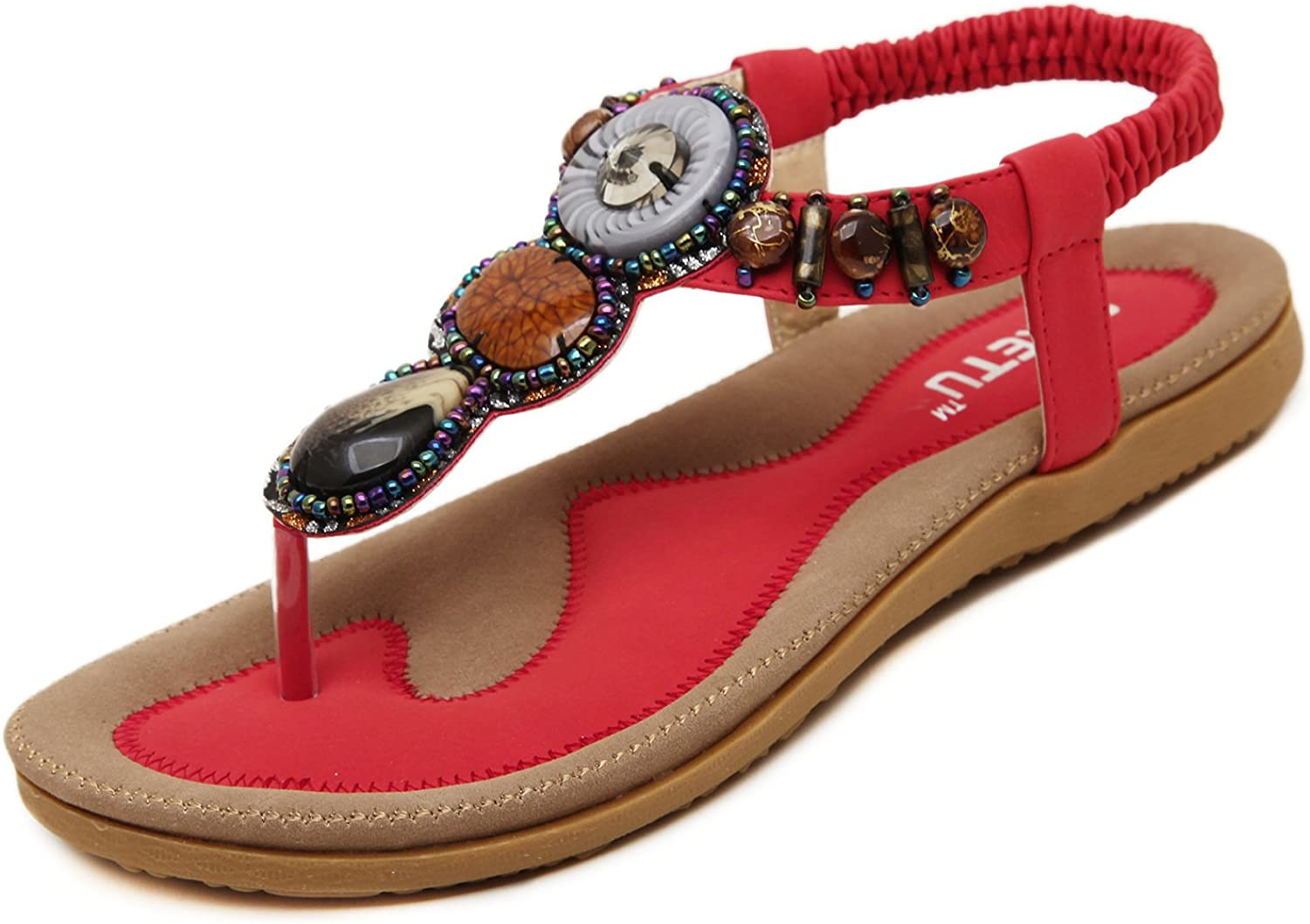 DQQ Womens Red T Strap Thong Sandal 9.5 US
