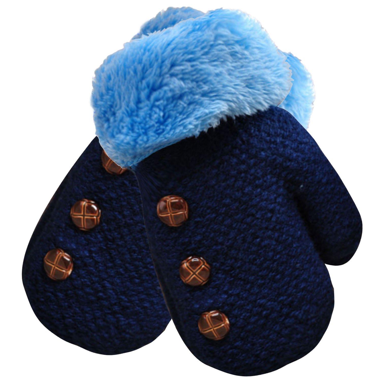 Beetest-EU-Cute Winter Warm Kid Baby Children Boy Girl Glove Navy Blue