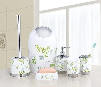 Badezimmer Zubehör Set, Mit Zahnbürstenhalter, Seifenschale/ Seifenspender,  Mülleimer, 6