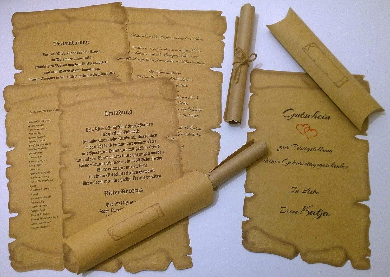 buoni per certificati biglietti di matrimonio 100 rotoli di carta pergamena medievale compleanno inviti 100 scatole per cuscini