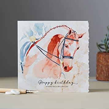 Deckled Edge Pferde Karte Manner Frauen Geburtstag Grusskarte Reiten