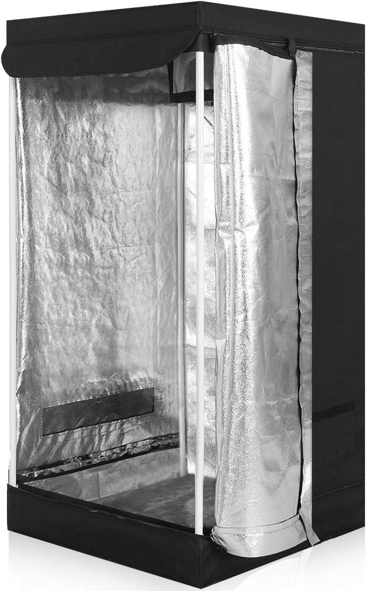 Giantex Plant Growing Tent Indoor Grow Tent Room Reflective Hydroponic Non Toxic Clone Hut 6-Size Indoor Grow Tent 24 X24 X48