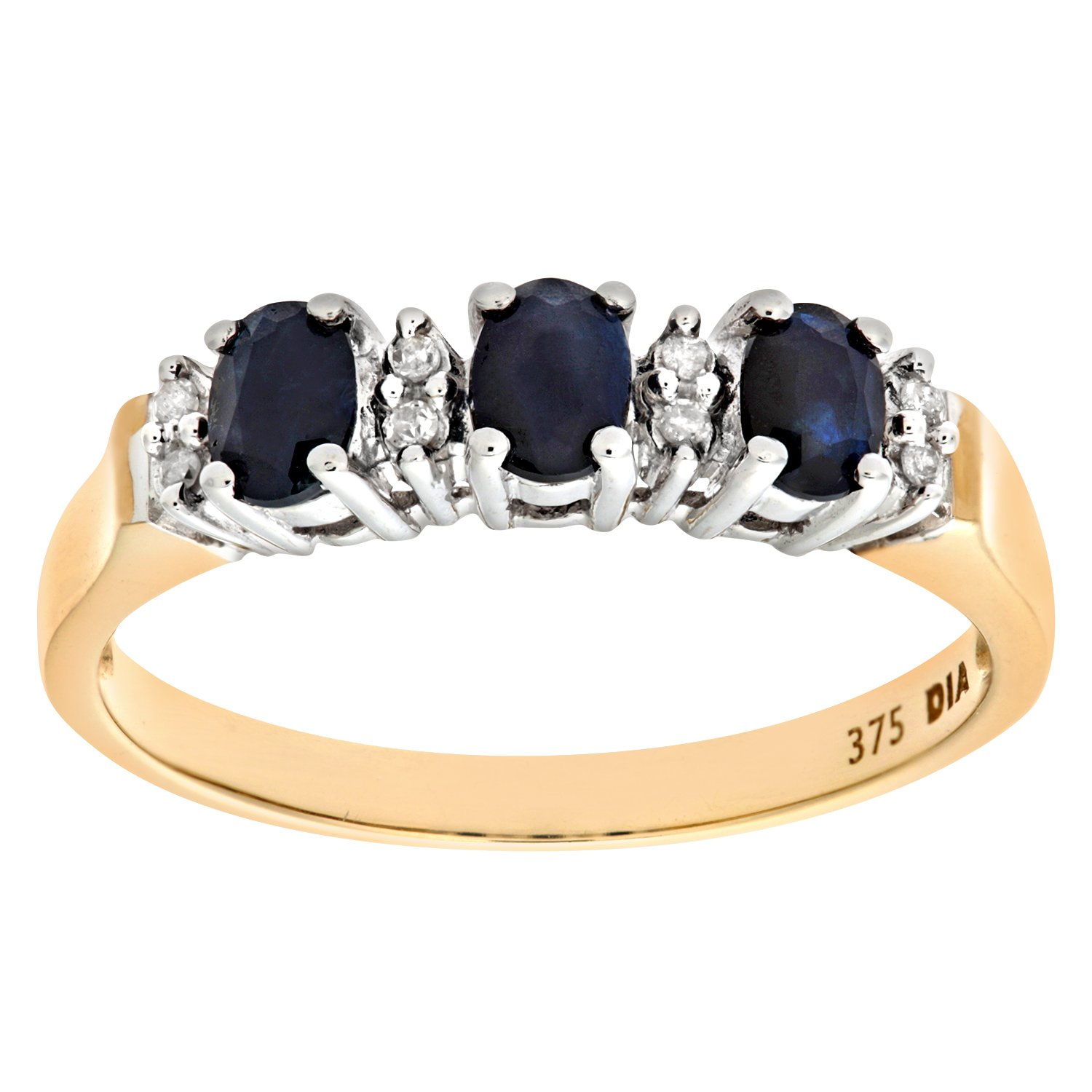 Naava Women's 9 ct Yellow Gold Claw Set Diamond and Sapphire Eternity Ring Ariel