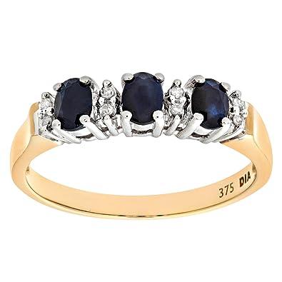 cb97ff0e7238 Naava Anillo para Mujer de Oro con Zafiros y Diamantes  Amazon.es  Joyería