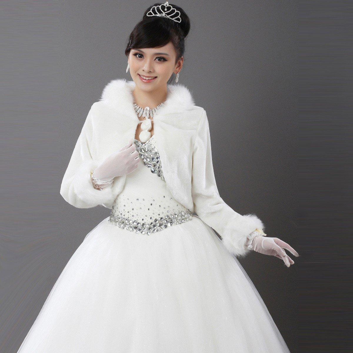 Amazon.com : CIMC LLC Faux Fur Bridal Wedding Wrap Bolero Shawl with ...