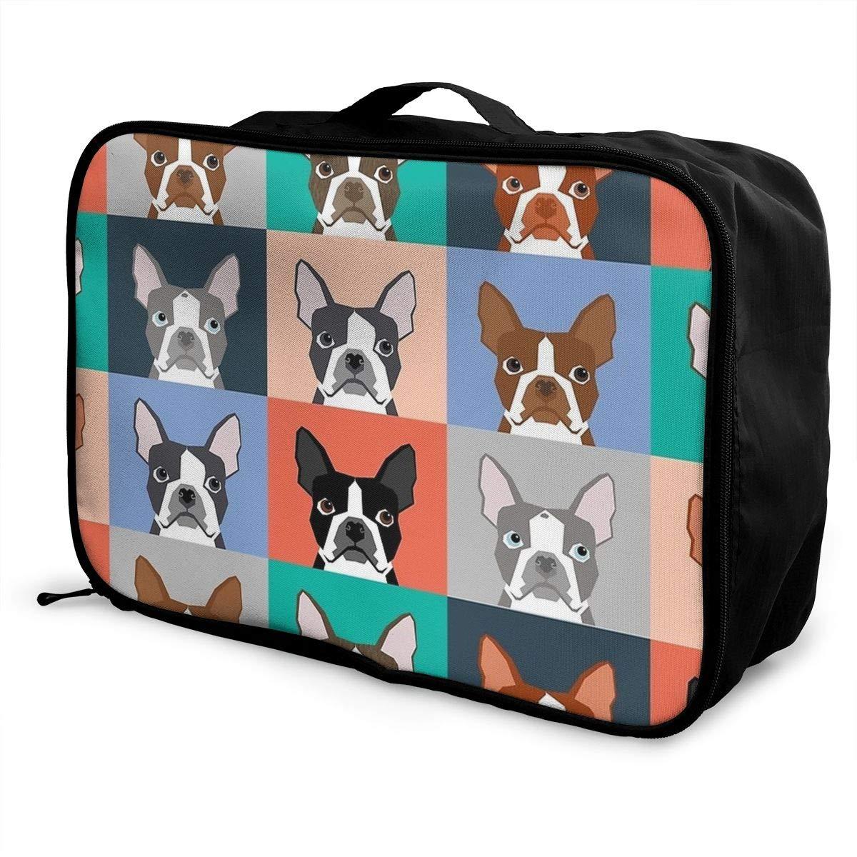 Boston Terriers Tile Bulldog Dog Set Pattern Travel Duffel Bag Casual Large Capacity Portable Luggage Bag Suitcase Storage Bag Luggage Packing Tote Bag Weekend Trip