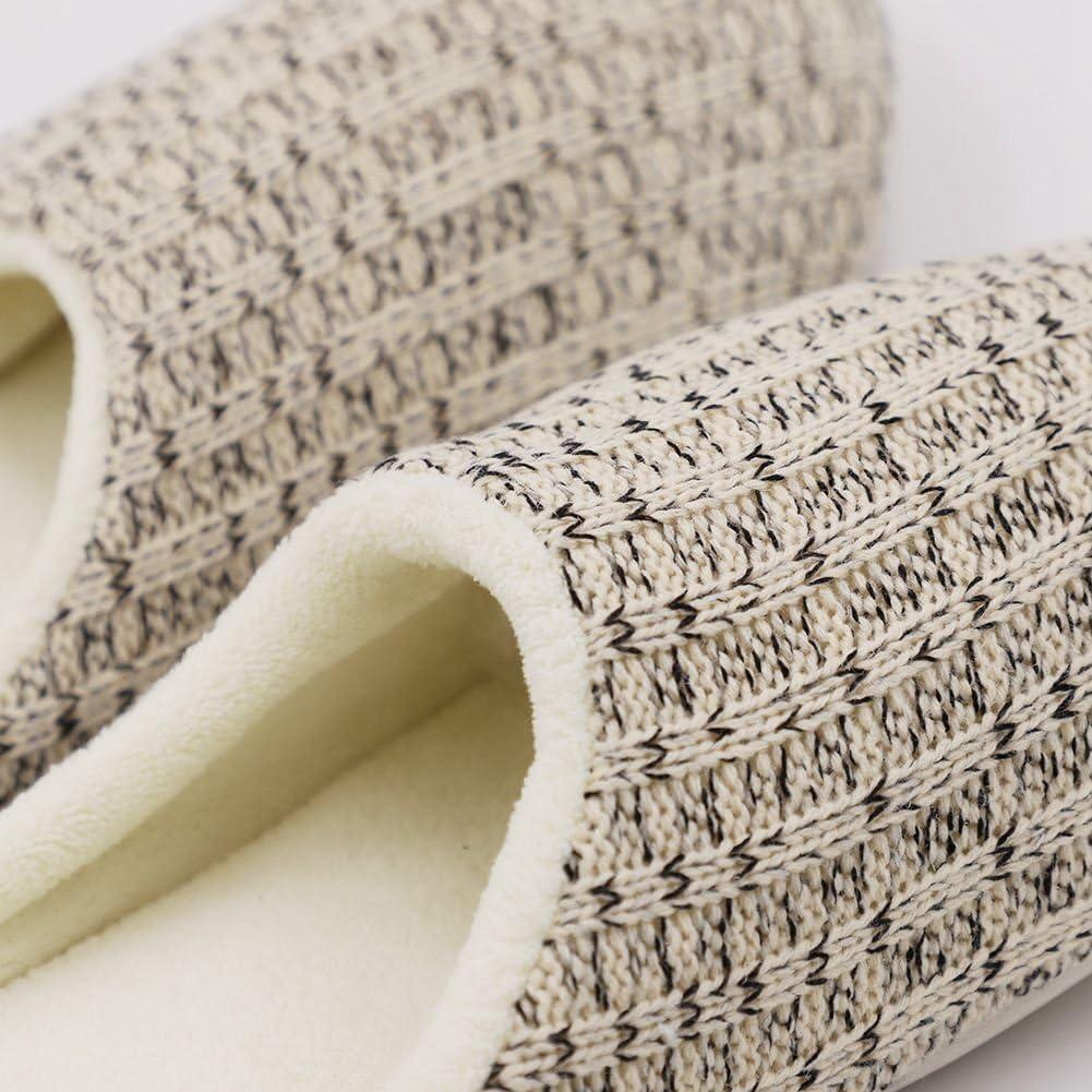 BAOBAO Mens Knit House Slippers Comfort Memory Foam Anti-Slip Indoor Shoes