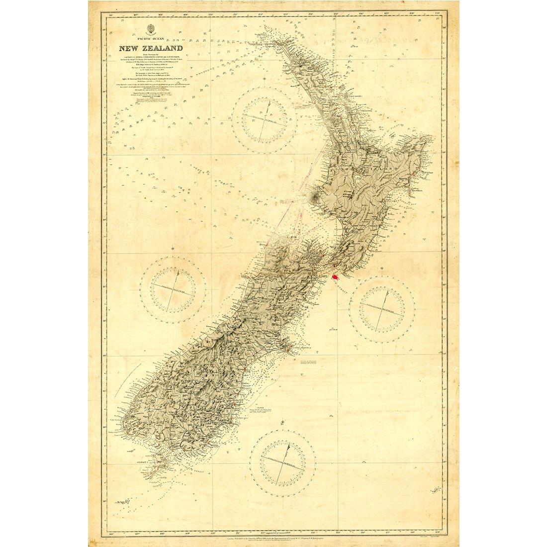 Amazon.com: Meishe Art Vintage New Zealand Nautical Map Old Chart ...