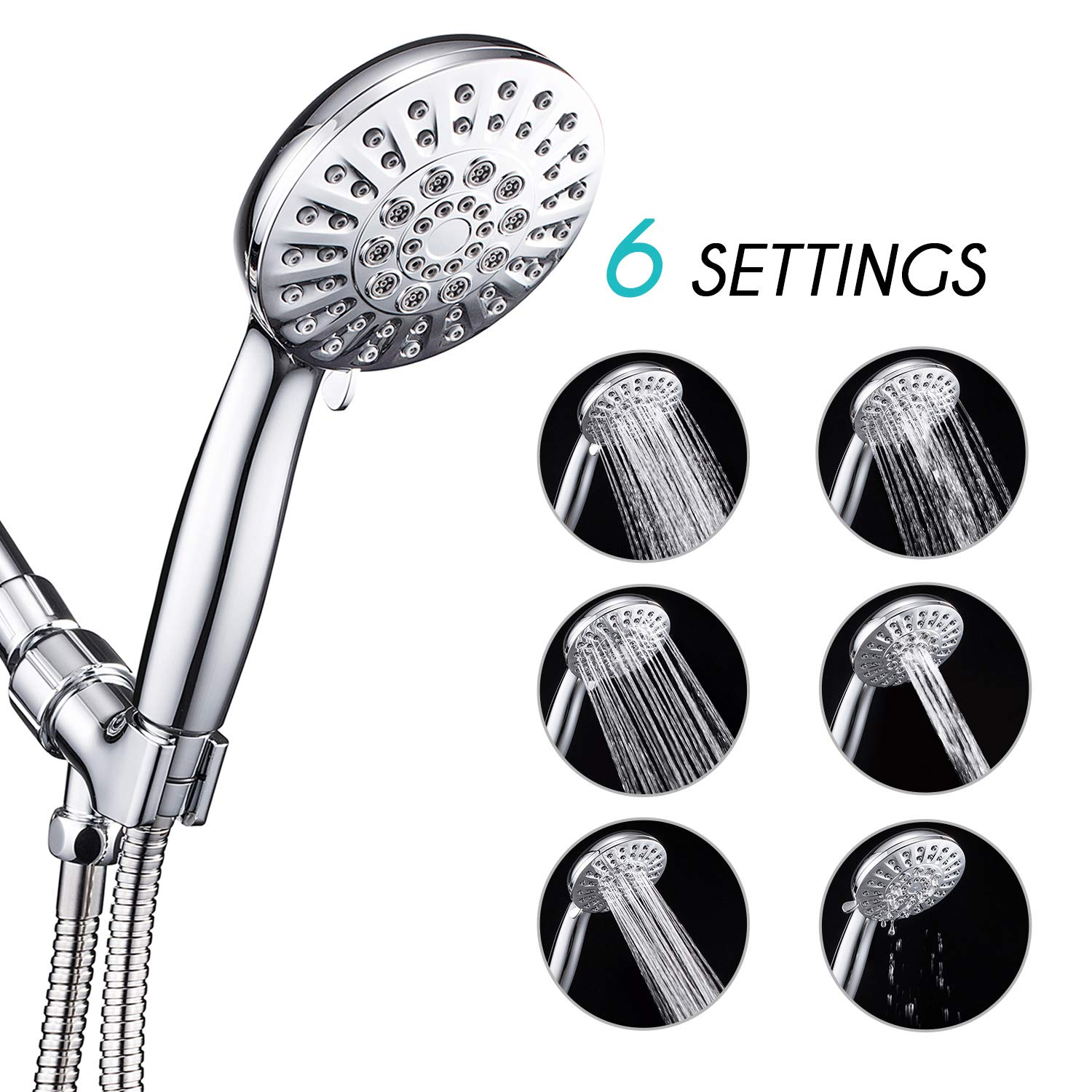 ANZA 6 Spray Settings Hand Held Shower Head with Hose, 4.3'' Water Saving Massage Rain High Pressure Handheld Shower Head, Angle-Adjustable Bracket, 5 Ft Stainless Steel Hose, Chrome
