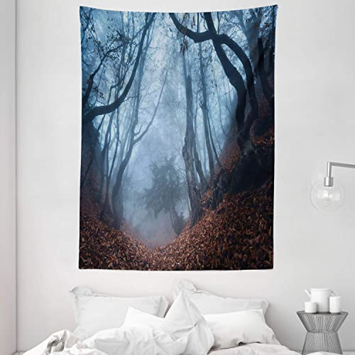 Ambesonne Forest Tapestry, Gloomy Crimea Nature Swirling Bushes Myst Spooky Wild Woodland Photo, Wall Hanging for Bedroom Living Room Dorm Decor, 60 X 80 , Orange White Brown