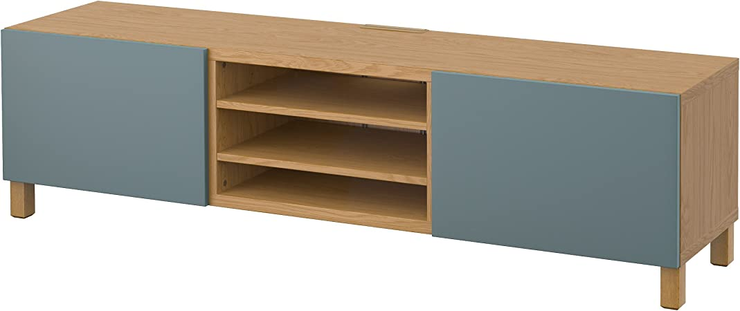 IKEA BESTA - Mueble TV con efectos cajones Roble / valviken gris ...