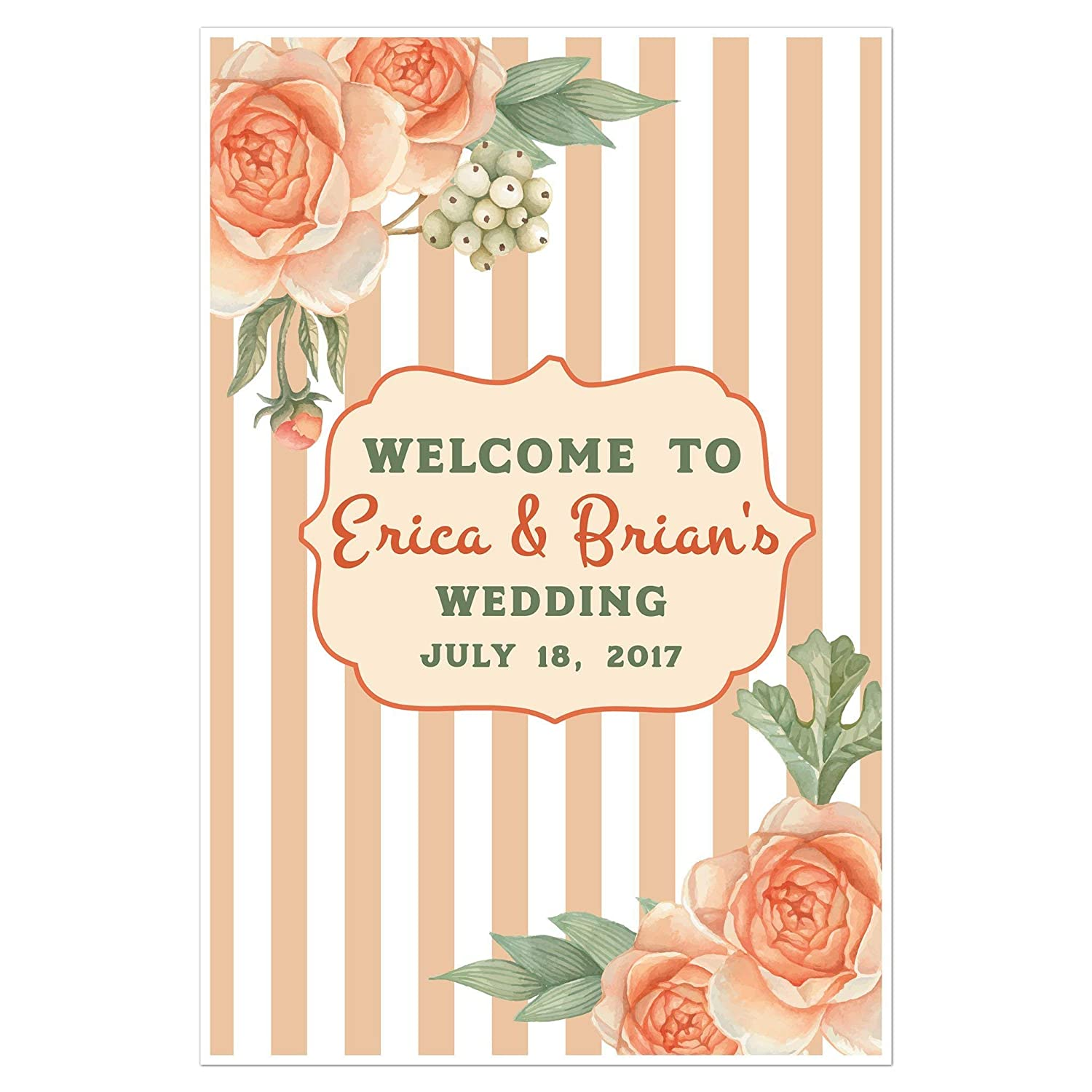 Retro Orange Stripes Welcome Sign for Wedding Personalized Poster