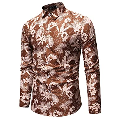 2efd40784fd Sagton Hawaiian Shirt Men Long Sleeve Button Down Shirt at Amazon ...