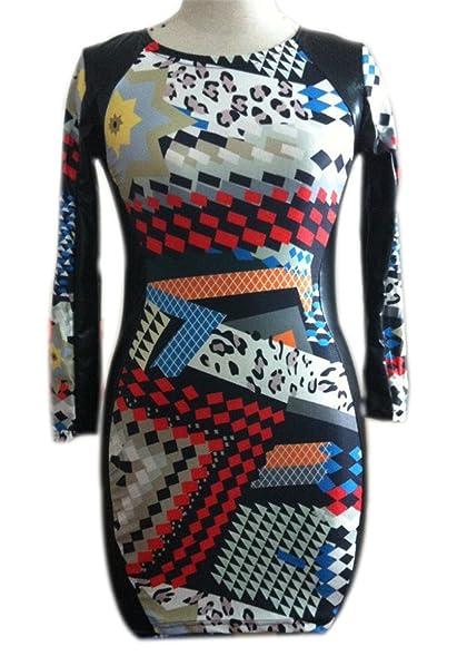 Paule NEW outono mangas compridas faux leather dress sexy clube das mulheres vestidos de impressão moda