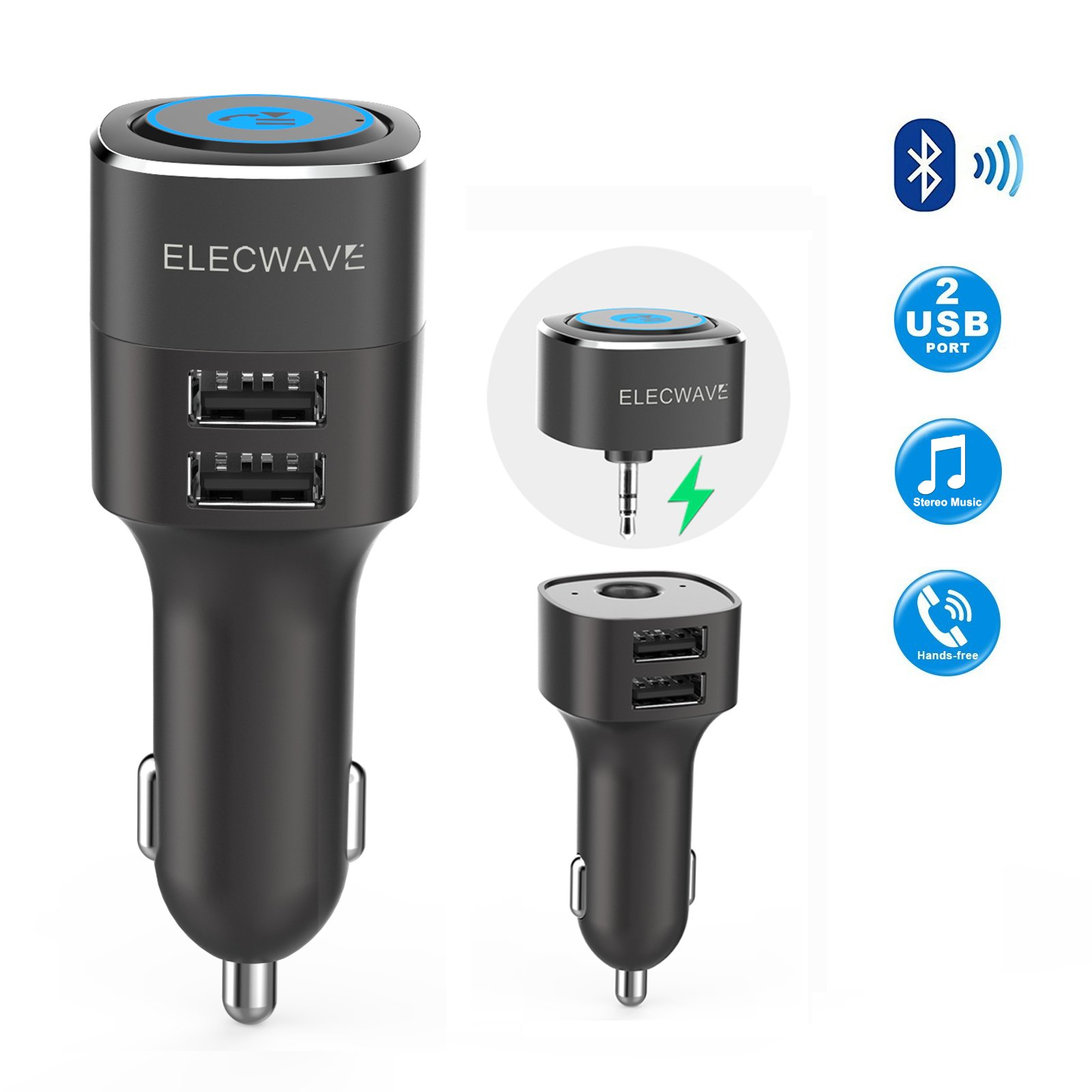 Bluetooth Receiver, Elecwave Bluetooth 4.2 Car Receiver & Wireless Audio Adapter for Music Streaming Car/Home Stereo Sound System - Hands-Free Car Aux Adapter Car Kits for Speaker, 3.5mm AUX in Only by Elecwave (Image #1)