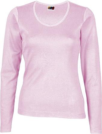 Camiseta Manga Larga Mujer 100% ALGODÓN Rosa: Amazon.es: Ropa y ...