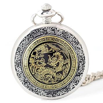 Esqueleto Negro Hueco Esqueleto Automático Reloj De Bolsillo Mecánico Reloj De Cadena Suéter,2Packb