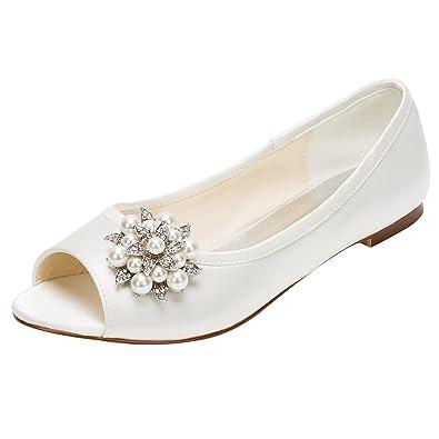 35e87bb5a88 Emily Bridal Peep Wedding Shoes Ivory Flat Pumps Pearl Rhinestone ...