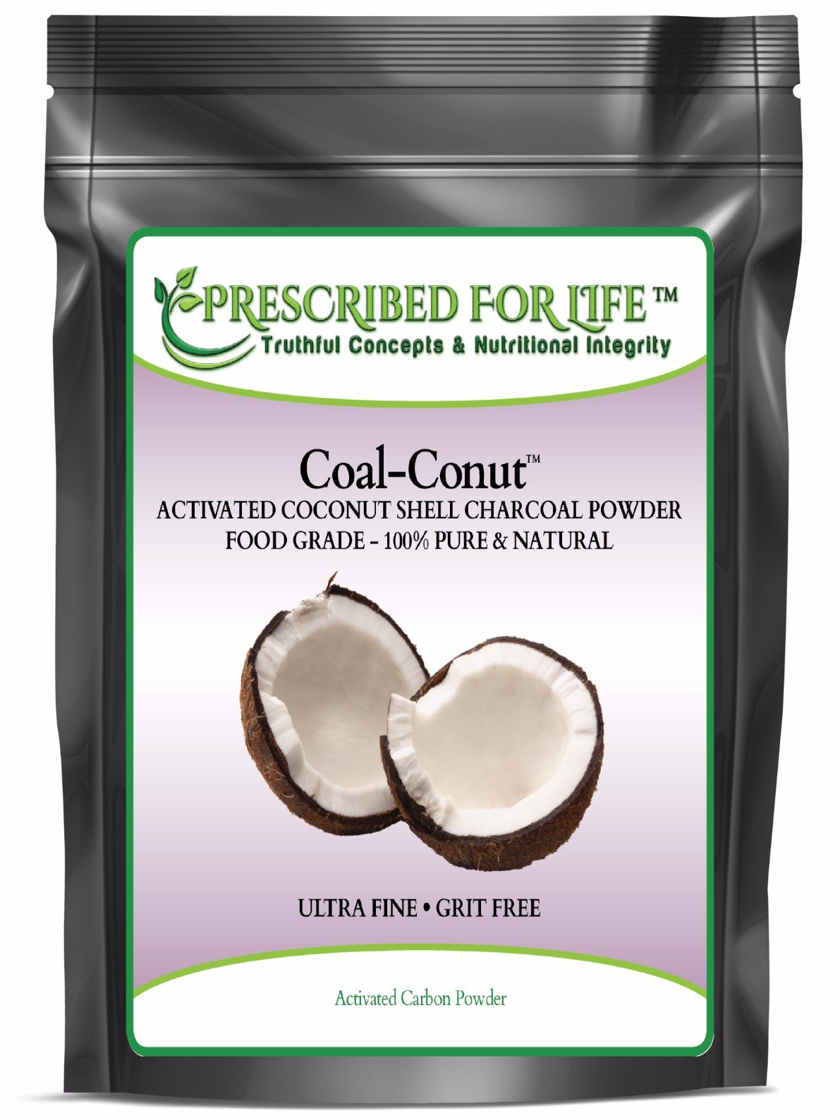 Coal-Conut (TM) - Activated Coconut Shell Charcoal Fine Husk Food Grade Powder (Ultra-Fine) - Organic Approved, 44 lb
