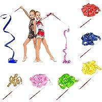 BEIFON 6 Stks 2 M Dans Linten Ritmische Gymnastiek Lint Dansen Streamers Lint Wands Baton Twirling met Staven voor…
