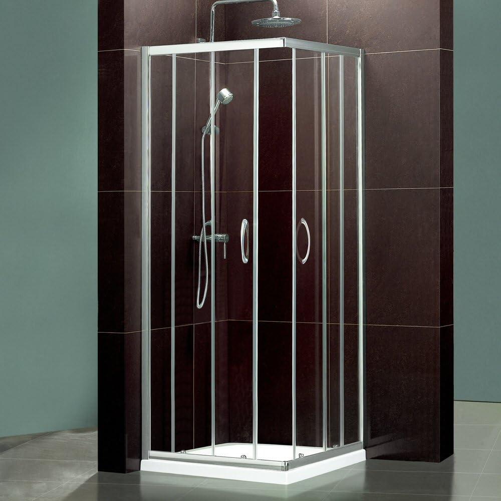 Trueshopping Mampara de ducha de cristal cuadrada Corner Entrada Enclosure Cubículo 800 mm: Amazon.es: Hogar
