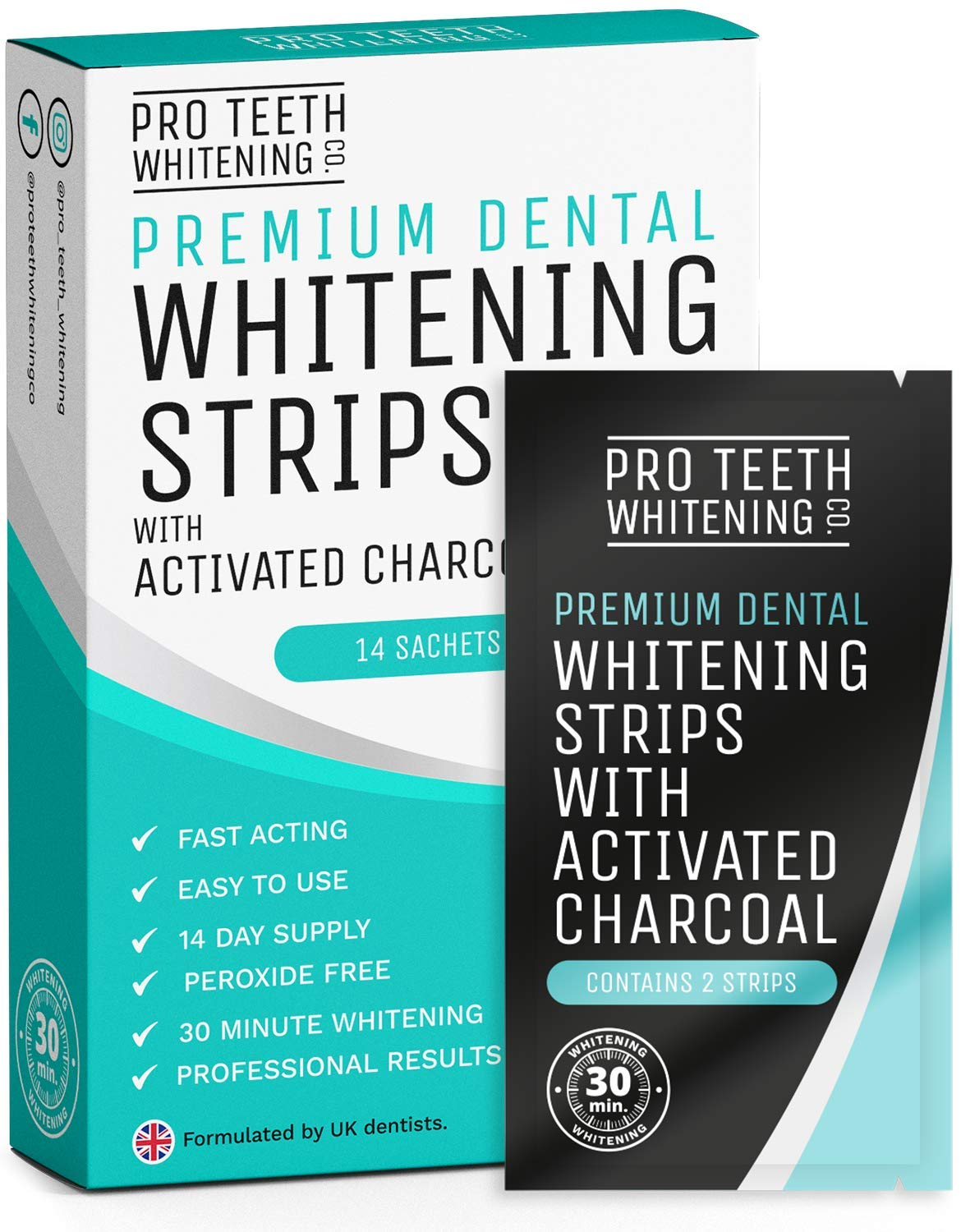 Teeth Whitening Strips with Activated Charcoal | 28 Peroxide-Free Teeth Whitening Strips (14 Upper + 14 Lower) | Fast-Acting Teeth Whitening Kit Formulated by UK Dentists for Pro Teeth Whitening Co. ® product image