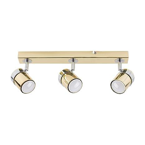 MiniSun – Plafón de techo con 3 focos – regleta de luz en cromo color dorado.