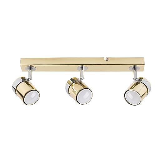 Sistema di illuminazione su binario con 4 faretti regolabili MiniSun Finitura rame Plafoniera moderna e dritta Rosie