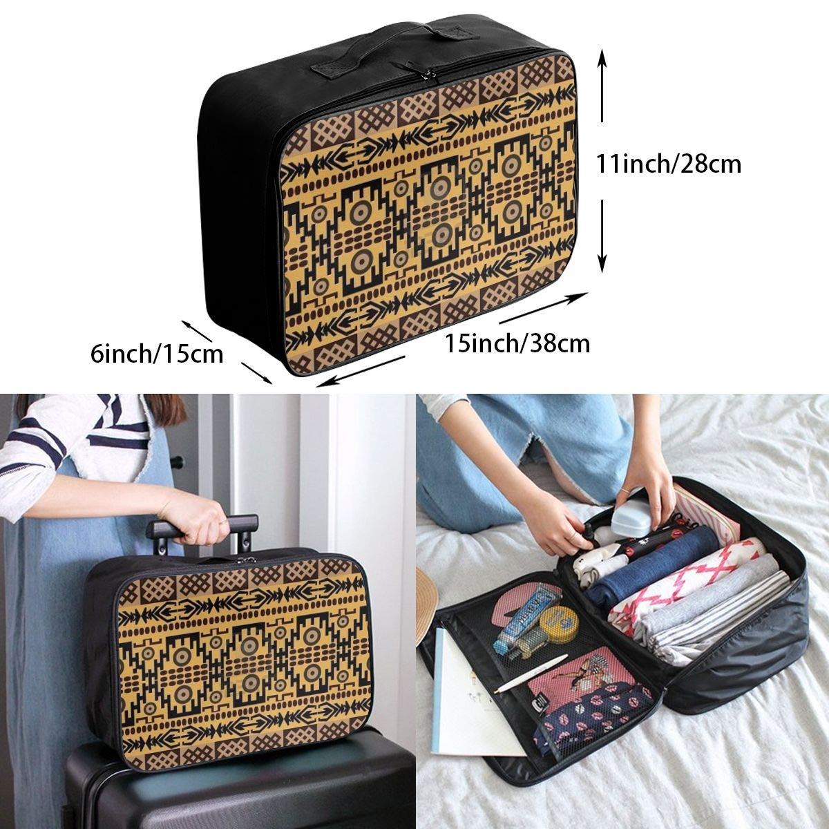 Travel Fashion Lightweight Large Capacity Duffel Portable Waterproof Foldable Storage Carry Luggage Tote Bag African Ethnic Pattern