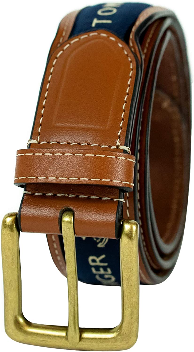 Tommy Hilfiger Mens Ribbon Inlay Belt - Ribbon Fabric Design with Single Prong Buckle