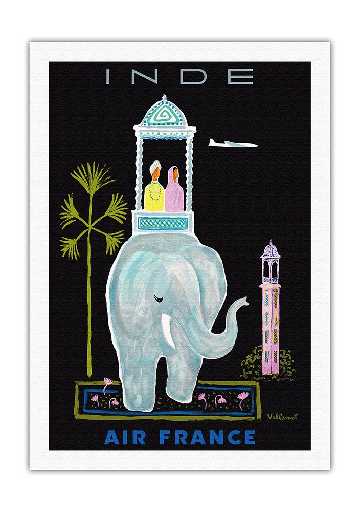 Inde (India) - France - Indian Elephant with Howdah (Carriage) - Vintage Airline Travel Poster by Bernard Villemot c.1956 - Fine Art Rolled Canvas Print - 27in x 40in