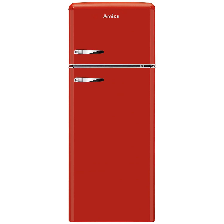 Amica FDR2213B Fridge Freezer Retro Style Freestanding 55 Centimeter Wide A Plus Energy Rating 40dB Noise Level 164 Litre Net Fridge Capacity (Black) [Energy Class A+]