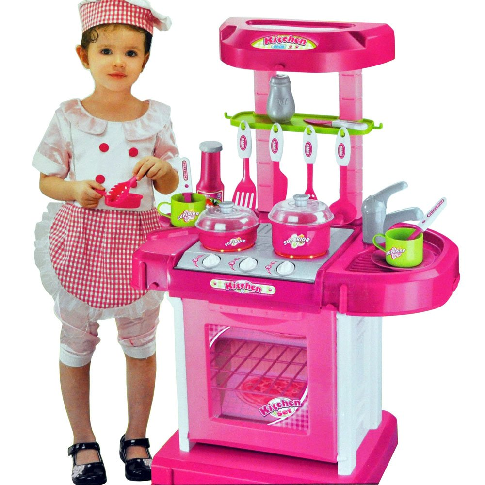 Portable Pink Electronic Children Kids Kitchen Cooking Girl Toy Cooker Play  Set: Amazon.co.uk: Toys U0026 Games