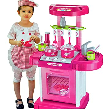 Portable Pink Electronic Children Kids Kitchen Cooking Girl Toy ...