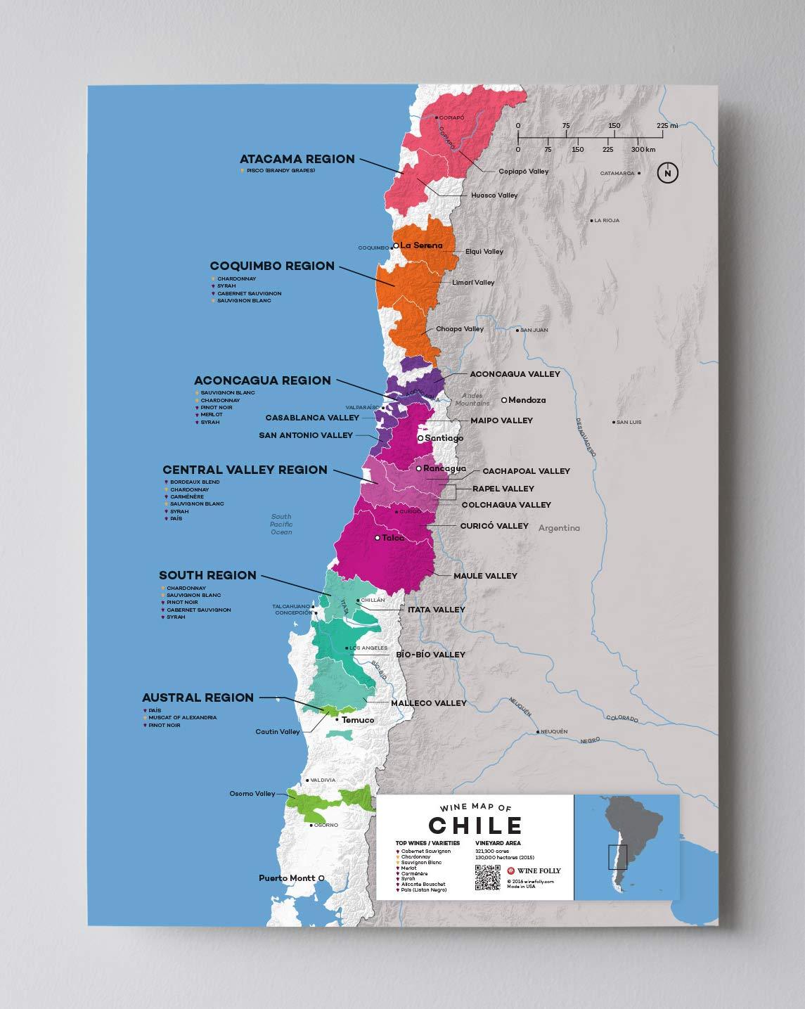 Amazon.com: Wine Folly Chile Wine Map Poster Print, 12