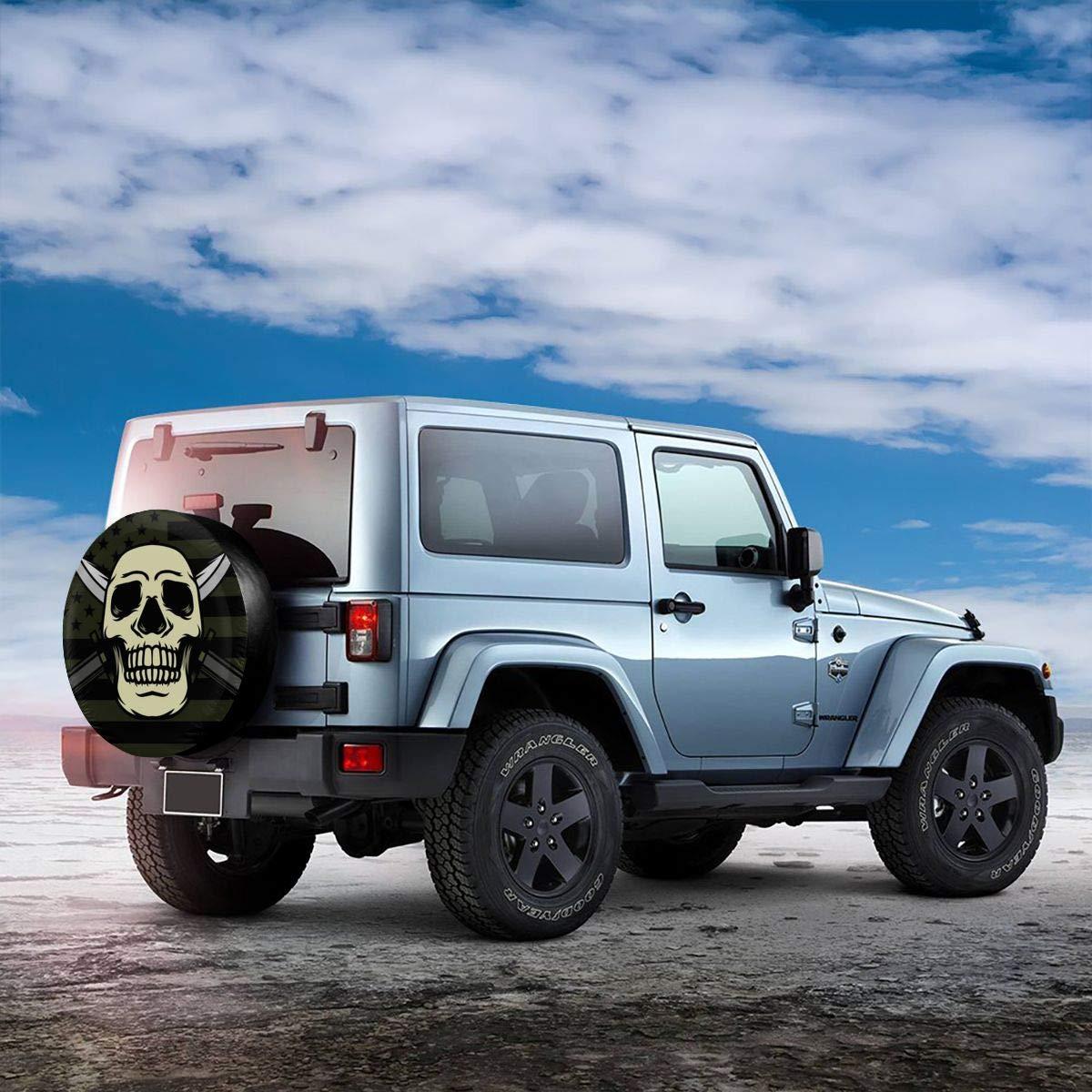 Copricerchi a Forma di Teschio con baionetta per Ruota di scorta 38,1 cm Camion e Camion SUV per Jeep Camper