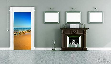Papel autoadhesivas playa de arena naranja - azul mar - Cielo azul - 93 x 205 cm color-Calidad: limpiar, colores intensos, no deja hacer: Amazon.es: Juguetes y juegos