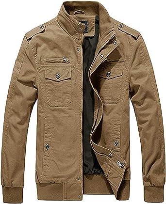Heihuohua Mens Field Jacket Cotton Stand Collar Lightweight Military Coat